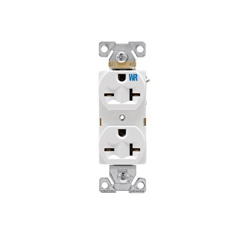 20 Amp Duplex Receptacle, Construction Grade, NEMA 6-20R, White