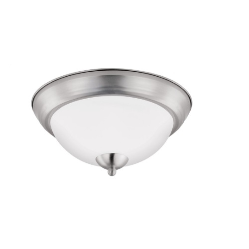 11-In 11W LED Flush Mount Ceiling Light, Dimmable, 900 lm, 3000K, Brushed Nickel Bezel