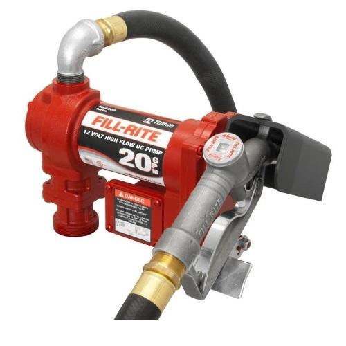 """12 V DC Hi-Flow Pump, Suction Pipe 1""""X12' Hose, 1"""" Manual Nozzle"""