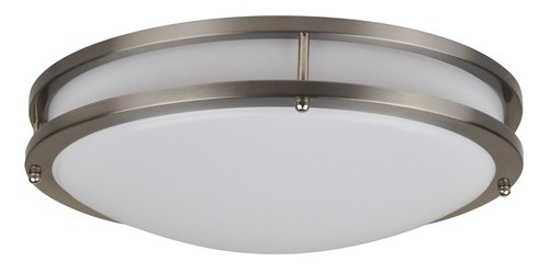 22W LED Flush Mount, Modern Design, Nickel Finish, 3000K