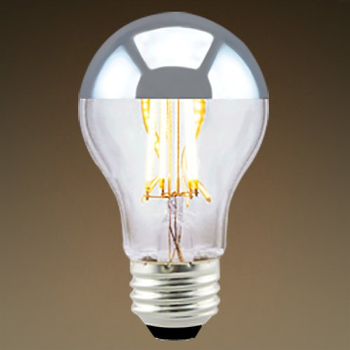 7W Silver Bowl A19 LED Filament Bulb, Dimmable, 2700K