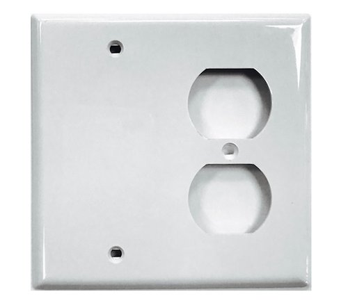 2-Gang Plastic Receptacle & Blank Wall Plate, White