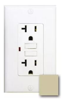 20 Amp Tamper Resistant GFCI with Auto-Monitoring Function, Ivory