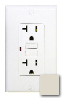 20 Amp Tamper Resistant GFCI with Auto-Monitoring Function, Light Almond