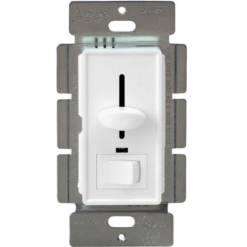600W, 3-Way, LED Compatible Slide Dimmer w/ Rocker Switch, White