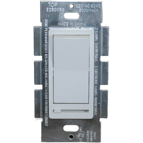 600W LED Compatible Decorative Dimmer w/ Rocker Switch, White