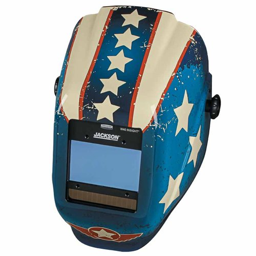 Red White and Blue Stars and Scars Welding helmet with 9-13 Variable Shade