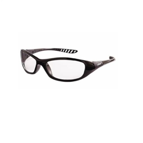 Anti-Scratch Safety Glasses, Clear Lens, Black Frame