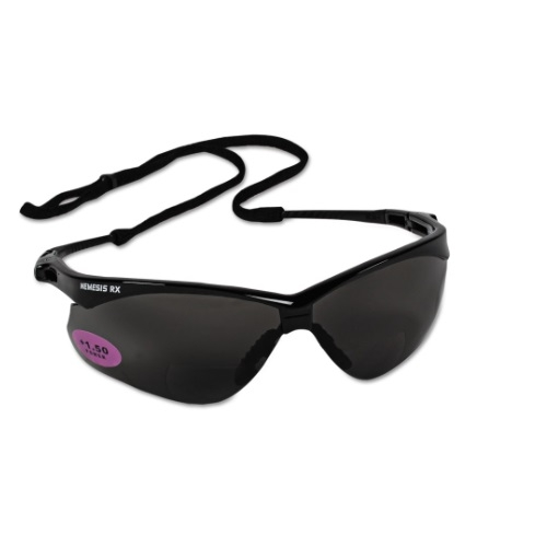 Safety Glasses, 1.5 Diopter, Smokey Anti-Scratch Lens