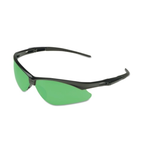 Safety Glasses w/ IRUV 3.0 Lens, Anti-Scratch, Green & Black