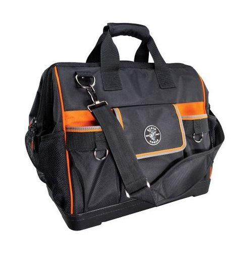 Black/Orange Tradesman Pro Wide-Open Tool Bag with Zipper Closure