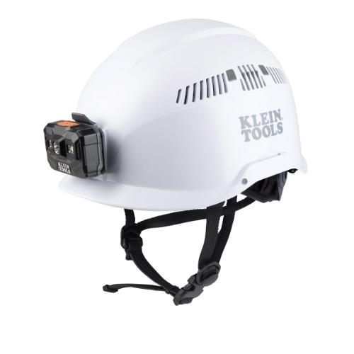 Vented Safety Helmet w/ Headlamp, Class C, White