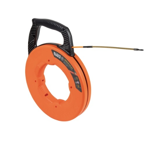 100-Ft Fiberglass Fish Tape w/ Spiral Steel Leader, Orange