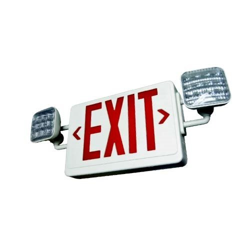 combo led exit sign with led square emergency light 2 face red with white