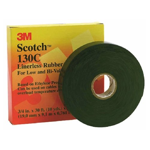 30 Foot Scotch Linerless Splicing Electrical Tape 130C, Black