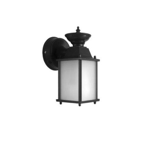 17W Outdoor Lantern w/ Glass Panels, LED Lamp,  Black, 2700K