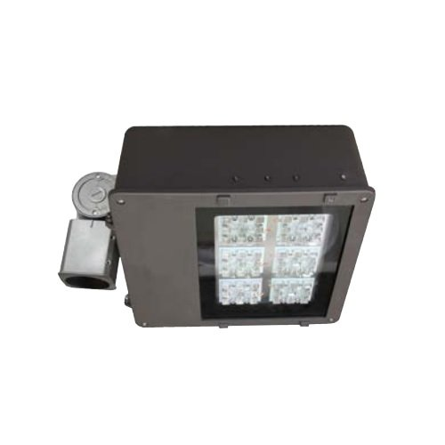 140W LED Large Flood Light, 347-480V, TYPE V, Bronze, Beam with Knuckle w/ Rotatable Photocontrol Receptacle