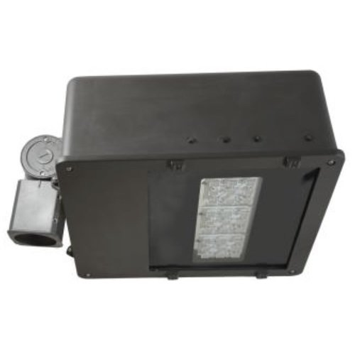 70 Watt 5000K LED Large Flood Light, 347-480V, TYPE V, Bronze, Beam with Knuckle, with Rotatable Photocontrol Receptacle