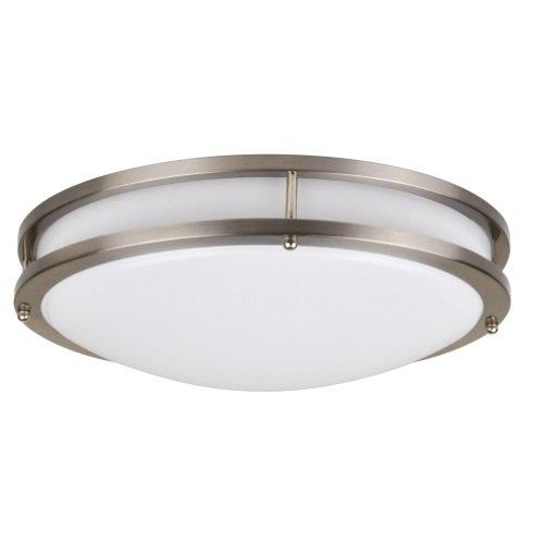 26W 16 in Modern Flush Mount Ceiling Light, 4000K, Nickel, Dimmable