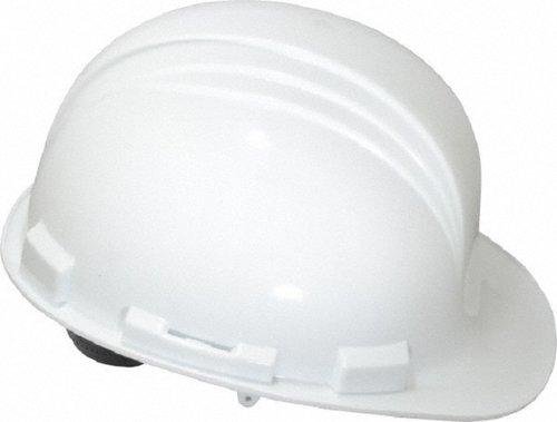 White 4 Point Pin-Lock Peak Hard Hat