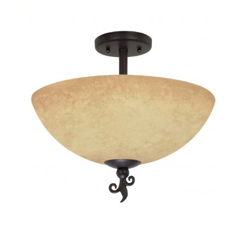 "16"" Tapas Semi-Flush Light, Tuscan Suede Glass, Old Bronze"