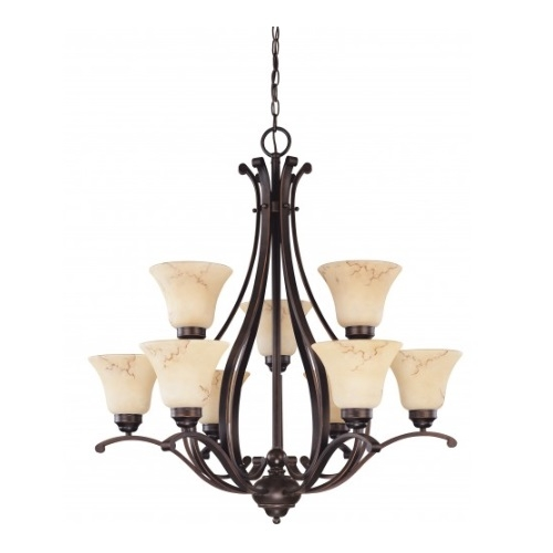 9-Light 2-Tier Chandelier, Copper Espresso, Honey Marble Glass