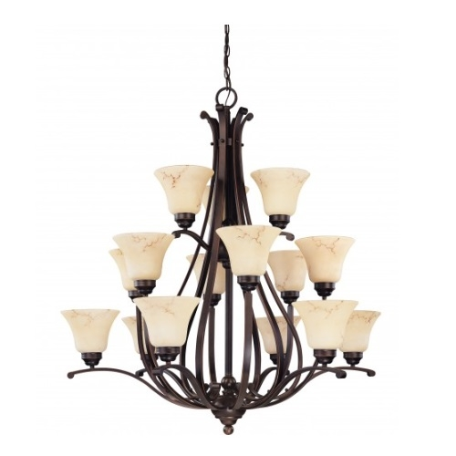 15-Light 3-Tier Chandelier, Copper Espresso, Honey Marble Glass