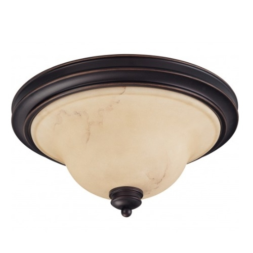 2-Light Large Dome Light Fixture, Copper Espresso, Honey Marble Glass