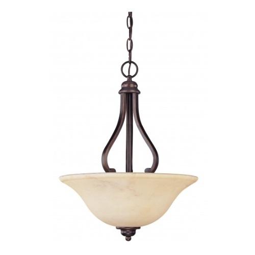 3-Light Hanging Pendant Light Fixture, Copper Espresso, Honey Marble Glass
