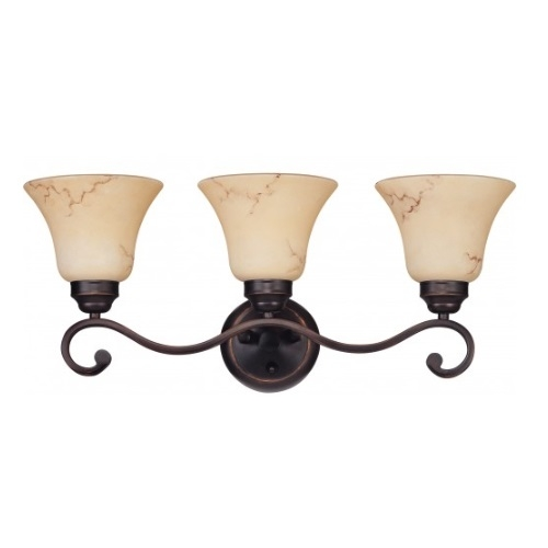 3-Light Wall Mounted Vanity Fixture, Copper Espresso, Honey Marble Glass