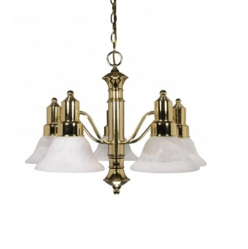 60W 25 in. Gotham Chandelier, Alabaster Glass Bell Shades, Brass
