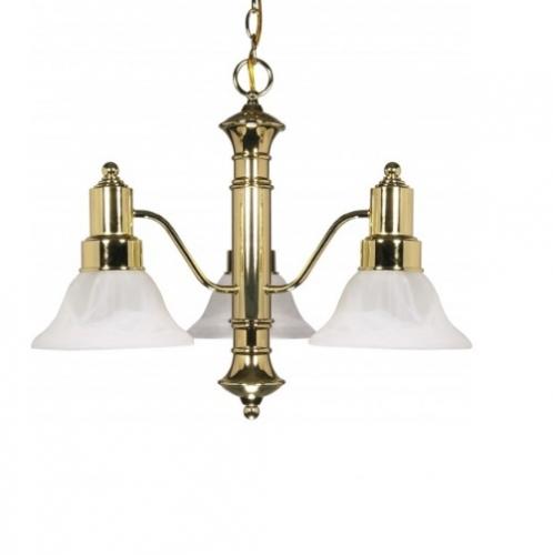 60W 23 in. Gotham Chandelier, Alabaster Glass Bell Shades, Brass