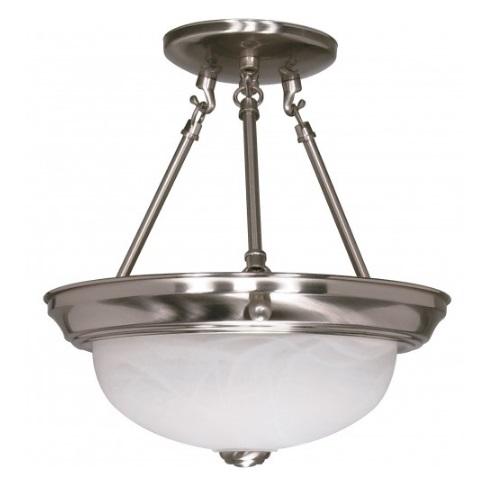 "11"" 2-Light Semi-Flush Mount Ceiling Light, Brushed Nickel"