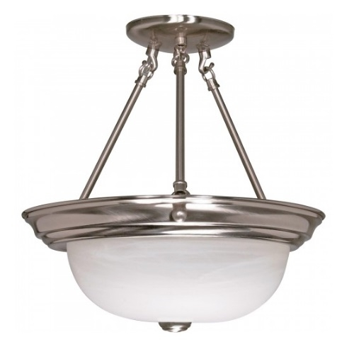 "13"" 2-Light Semi-Flush Mount Ceiling Light, Brushed Nickel"