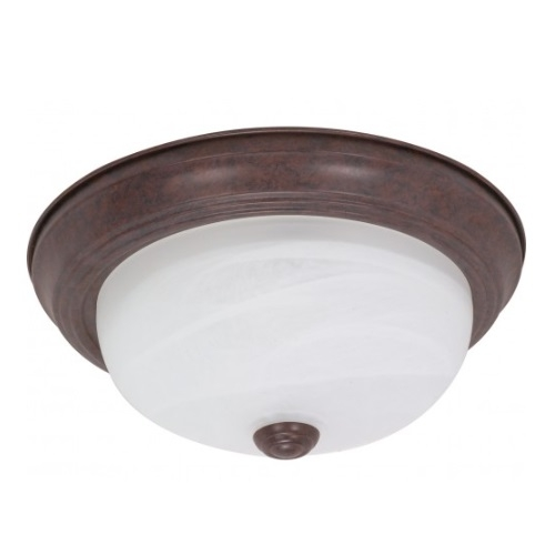"13"" Flush Mount Ceiling Light Fixture, Old Bronze, Alabaster Glass"