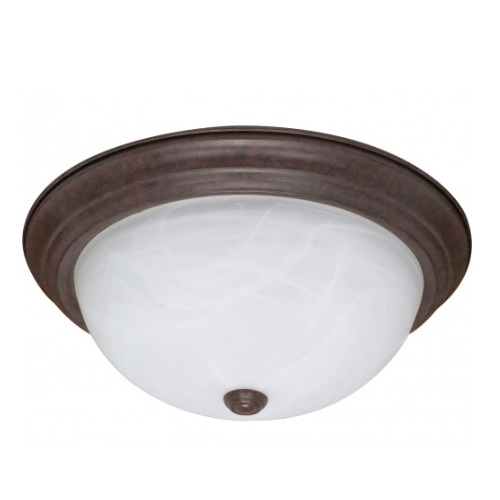 "15"" Flush Mount Ceiling Light Fixture, Old Bronze, Alabaster Glass"