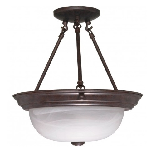 "13"" Semi-Flush Mount Ceiling Light Fixture, Old Bronze, Alabaster Glass"