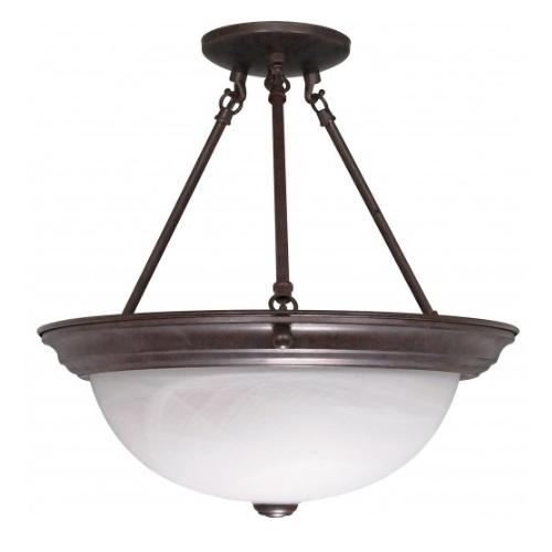 "15"" Semi-Flush Mount Ceiling Light Fixture, Old Bronze, Alabaster Glass"