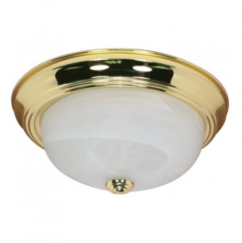 "11"" Flush Mount Ceiling Light Fixture, Polished Brass, Alabaster Glass"