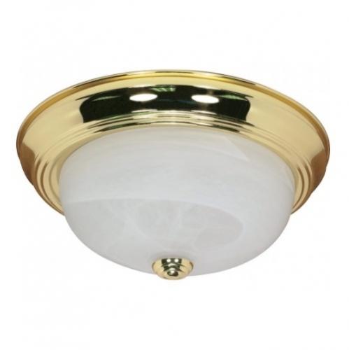 """13"""" Flush Mount Ceiling Light Fixture, Polished Brass, Alabaster Glass"""