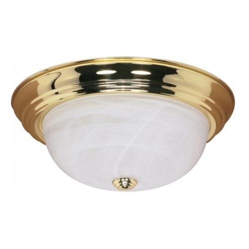 """15"""" Flush Mount Ceiling Light Fixture, Polished Brass, Alabaster Glass"""