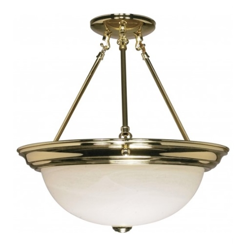 "15"" Semi-Flush Mount Ceiling Light Fixture, Polished Brass, Alabaster Glass"