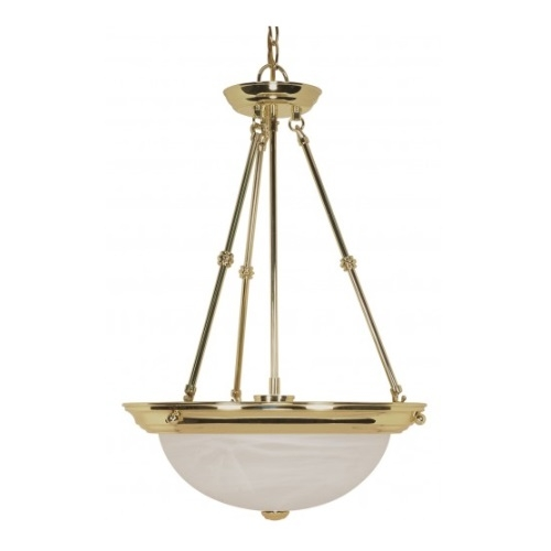 "3-Light 15"" Hanging Pendant Light Fixture, Polished Brass, Alabaster Glass"