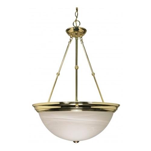 "3-Light 20"" Hanging Pendant Light Fixture, Polished Brass, Alabaster Glass"