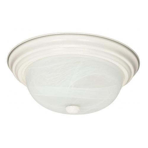"""2-Light 13"""" Flush Mount Ceiling Light Fixture, Textured White"""
