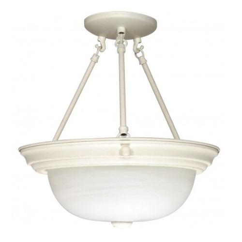 """3-Light 15"""" Semi-Flush Mount Ceiling Light Fixture, Textured White"""