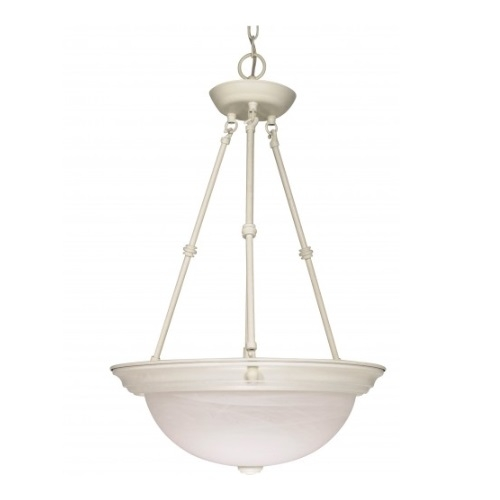 "3-Light 15"" Hanging Pendant Light Fixture, Textured White"