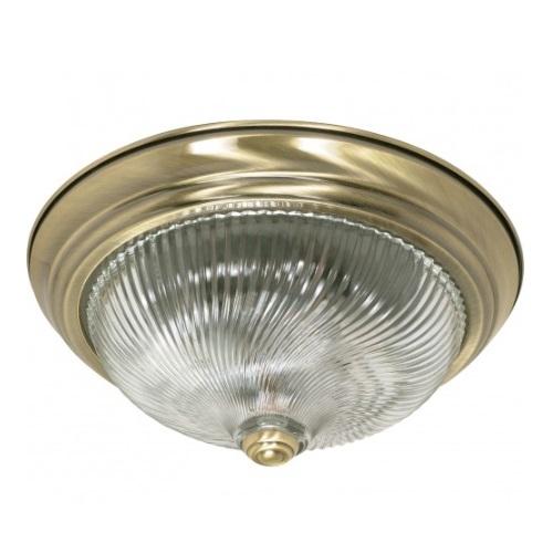 """2-Light 13"""" Flush Mount Ceiling Light Fixture, Antique Brass"""