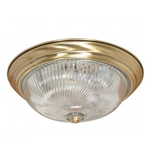 "3-Light 15"" Flush Mount Ceiling Light Fixture, Antique Brass"