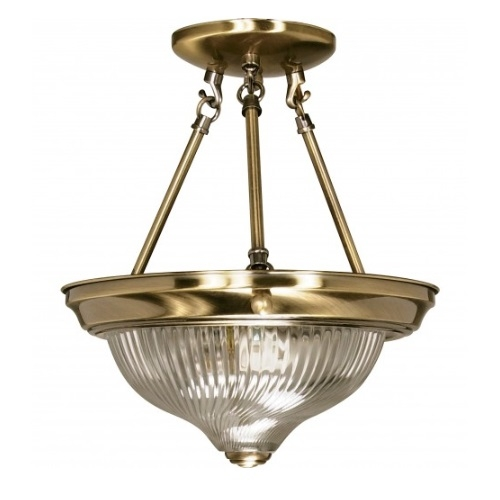 "2-Light 11"" Semi-Flush Mount Ceiling Light Fixture, Antique Brass"
